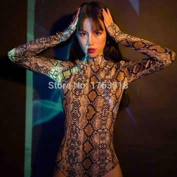 New Arrival GOGO Style Snakeskin Pattern High Collar Jumpsuits Bodysuits Stage Wear Performance Costume Show Sets