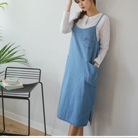 Buy JUSTONE Spaghetti-Strap Denim Midi Pinafore Dress | YesStyle