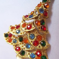 "Christmas Xmas Tree Holiday Brooch Pin Colored Rhinestones Gold Etched Metal 2.5"" Vintage"