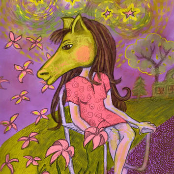 Art Print Whimsical Folk Horse Headed Lady 8 by RenaissanceDays