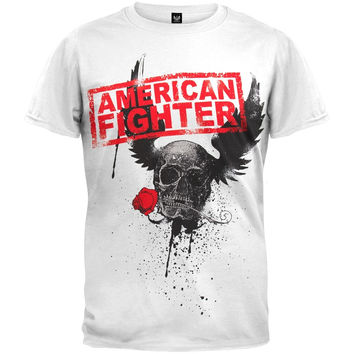 American Fighter - Winged Skull Rose Soft T-Shirt