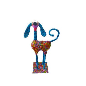 Dog sculpture-  whimsical dog -animal Collectibles-  dog collectibles-floral patteren and  dots - Bordeaux metal base 100% handmade
