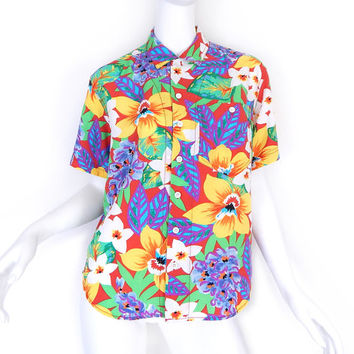 Sz P S 90s Tropical Print Oversized Button Up Blouse - Vintage Women's Lizwear Hawaiian Shirt Bright Red Yellow Green Purple - Petite Small