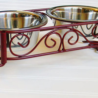 Raised Dog Dish Stand, Choose your Color, Dog Bowl Stand, Medium Dog Bowls, Pet Feeder Stand,2 Bowl Feeder, Wrought Iron Dish Stand
