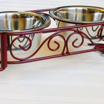 Raised Dog Bowl Stand, Choose your Color, Cat Feeder Stand, Small Pet Feeder Stand, Small Dog Bowls, Small Cat Bowls, Iron Dog Bowl Stand