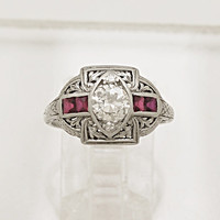 0.55ct. Diamond, Ruby, and Platinum Art Deco Engagement/Fashion Ring- J33955