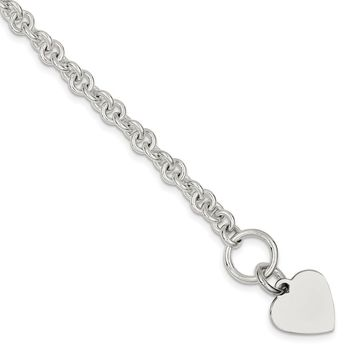 925 Sterling Silver Engraveable Heart Disc on Fancy Link Toggle Necklace, Bracelet or Anklet