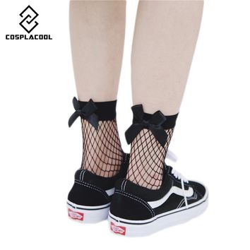 [COSPLACOOL]2017 Harajuku Fishnet Bowknot goth punk series cool female essential hollow thin Meias women/Ladies sexy socks Sox