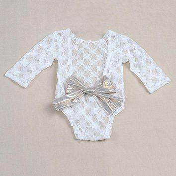 White Newborn Photography Props Baby Girl Lace Romper with Bow Infant Jumpsuit Baby Girl Clothes for New Born