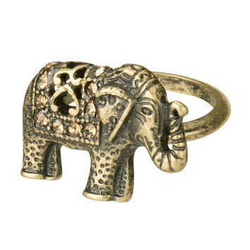 Rhinestone Embellished Elephant Ring