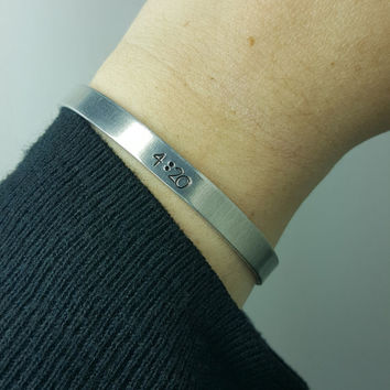4:20 Hand stamped aluminum cuff bracelet, ready to ship, cannabis, marijuana jewelry 420 jewelry, high life, handmade by the toke shop