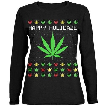 DCCKU3R Pot Leaf Rasta Happy Holidaze Holidays Ugly Christmas Sweater Ladies' Relaxed Jersey Long-Sleeve Tee