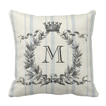 French Grain Sack Monogram Throw Pillow