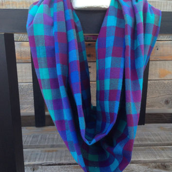 Multi-Color-Flannel-Women's-Plaid-Infinity-Scarf-Handmade-Accessories-Winter-Chunky-Gifts for her-Fall-Purple