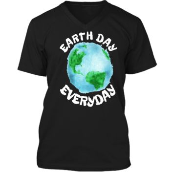 Earth Day Shirt Everyday Conservation Plant Nature Lover Tee Mens Printed V-Neck T