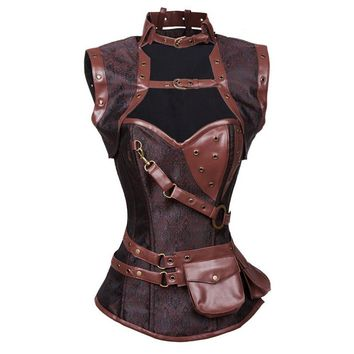 Plus S-6XL Sexy Gothic Clothing Black Steampunk Corset With Jacket And Pouch Women Vintage Retro Steel Boned High Neck Corset