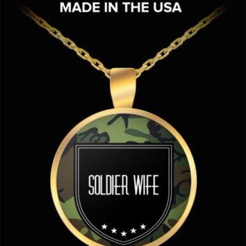 Soldier Wife Necklace - Proud Wife Of A Soldier - Army Wife Jewelry - Gifts For Military Wife - Affirmation Necklace - Proud Wife Of A Us Army Veteran - Round Shaped Gold Plated Pendant & Necklace That Fits All - Navy - Police - Veteran