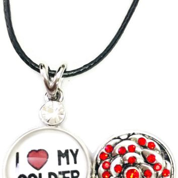 "I Love My Soldier Snap on 18"" Leather Rope Diamond Pendant Necklace W/ Extra 18MM - 20MM Snap Charm"