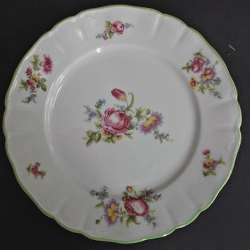 Limoges Wm. Guerin Porcelain Plate Flowers Pink Blue Yellow Green