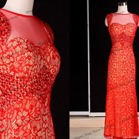 Gorgeous All Red and Golden Floral Lace Red Beading Straps Round Neck Column Floor Length Long Evening Gown,evening dress,wedding dress