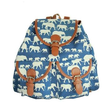 Day-First™ Blue Elephant School Bag Travel Bag Canvas Lightweight College Backpack
