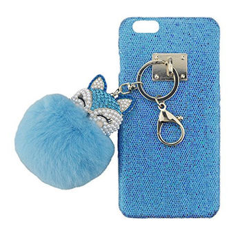 "S&C Cute Luxury String of Rhinestone Smile Fox Fur Ball Chain Bling Glitter Hard Back Case Cover Phone Case for iPhone 6 6S (4.7"") Blue"