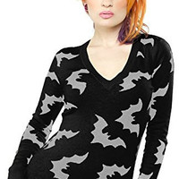 Sourpuss Black & Gray V-Neck Batty Sweater