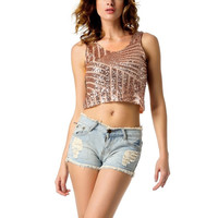 Casual Women Vest Crop Top Tee Sequins Sleeveless Party Clubwear Tank Tops