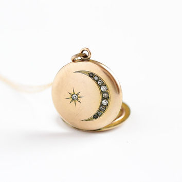 Antique Star & Crescent Moon Rhinestone Locket Necklace - Victorian Edwardian Early 1900s Monogrammed Round Fob Pendant Charm Jewelry