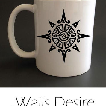 Mayan Or Incan Symbol Of The Sun Or A Star,  Mug, Different Inside Color Selection, 11 Oz. T00078