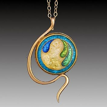 All NEW Courbes Cloisonne Enamel and Gold Pendant