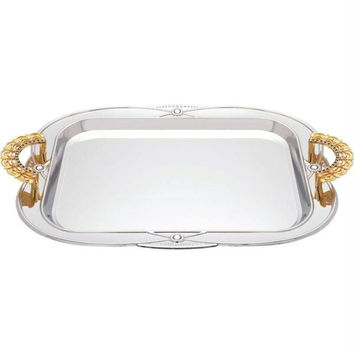 Sterlingcraft Serving Tray With Gold-tone Handles