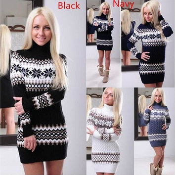 Women Fashion Sweater Hoodies Pullovers Casual Knitting Cotton Dress Autumn Winter Warm [9145126406]