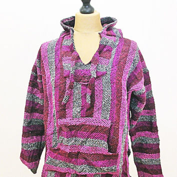 Vintage 90s Festival Mexican Pink Striped Baja Hippy Jumper Hoody Jacket M