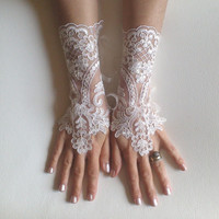 Ivory gloves cream frame free ship wedding bridal lace  fingerless gauntlets  prom party