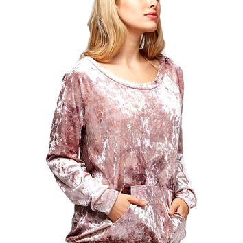 Long Sleeve Velour Top, Mauve