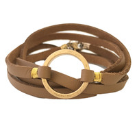 Trend Set Leather Wrap Bracelet in Brown