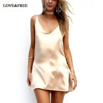 Women Summer Spaghetti Strap Slip Dress V Neck Satin Mini Dresses 2016 Party Beach Vestidos strand jurk