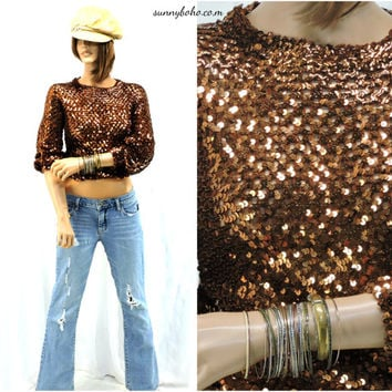 70s sequined disco top,  size S / M, retro copper / bronze metallic sweater 1970s shiny party top  sequin top /SunnyBohoVintage