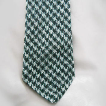 Vintage 1960s Necktie in Wool with Green Checks for St. Patty's Day