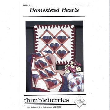 1980s Pattern for Homestead Hearts Quilt Pattern, UNCUT, Thimbleberries, 4 Sizes, Marilyn Ginsburg, Home Quilting Pattern, Vintage Pattern