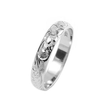 14K WHITE GOLD CUSTOM HAND ENGRAVED HAWAIIAN QUEEN PLUMERIA SCROLL BAND RING 4MM