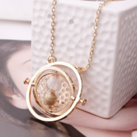 Harry Potter Hermione Granger Replica Time Turner Rotating Pendant Necklace With Hourglass