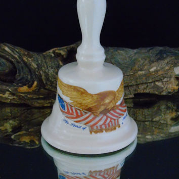 Commemorative Bell Patriotic Americana The Spirit of Seventy Six Carved Wooden Eagle Draped American Flag