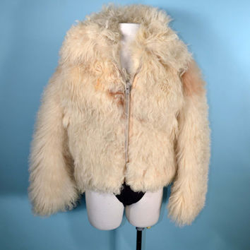 Vintage 70's Vintage Cream Mongolian Curly Lamb Fur Penny Lane Hippie Boho Grunge Punk Snow Bunny Wooly Fall Coat Jacket w/ Side Pockets