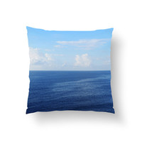 Caribbean Sea - Throw Pillow Cover, Blue Coastal Ocean Home Accent, Nautical Style Furnishing Pillow Square in 14x14 16x16 18x18 20x20 26x26