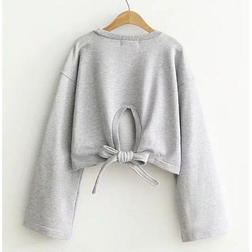 CREYIH3 Loose and casual and short - style horn sleeve hoodie