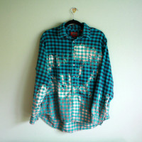 bleached ombre flannel shirt blue and black ONE OF A KIND