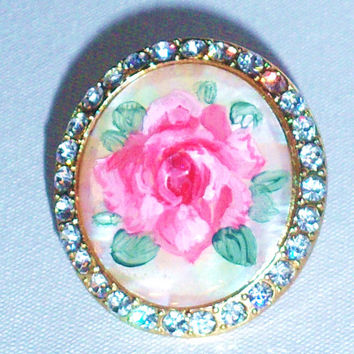 Victorian Ring Pink Rose Rhinestone Ring Hand Paint Romantic Mother of Pearl Ring