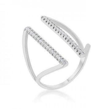 Jena 0.2ct Cz Rhodium Delicate Parallel Ring (size: 10) (pack of 1 ea)